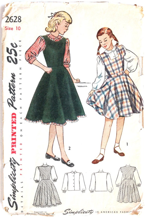 b6873d022 Girls Sewing Pattern Vintage 1940s 1950s Girls Jumper and
