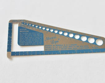 Vintage 1960s Marcia Lynn Aluminum Stitch and Knitting Needle Gauge