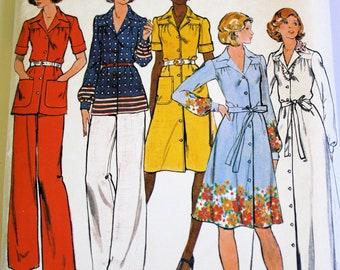 Vintage 1970s Women's Blouse, Shirt Dress, and Trouser Pattern Size 16 1/2