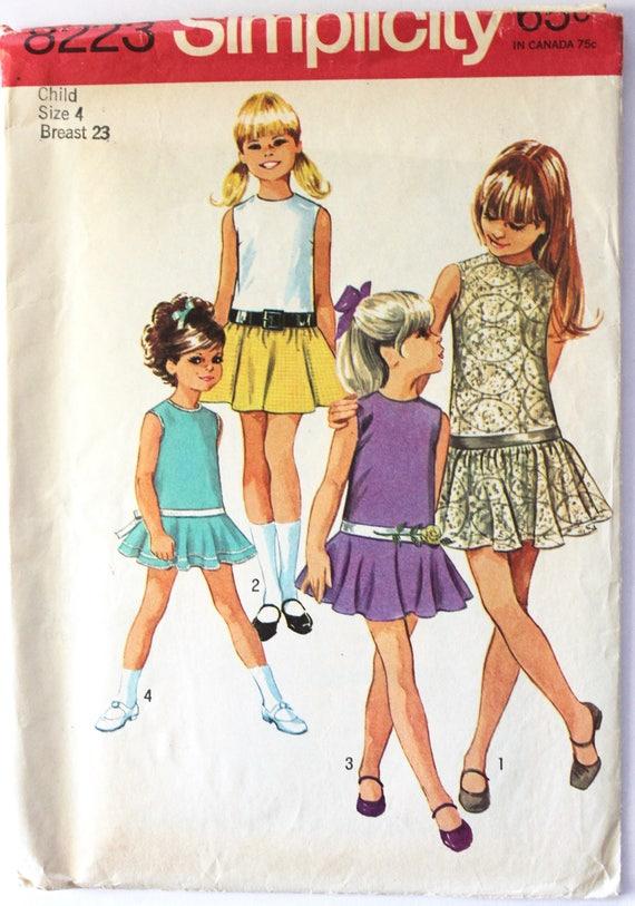 ccbf9e961 Vintage 1960s Girls Drop-Waist Sleeveless Mini Dress Size Size