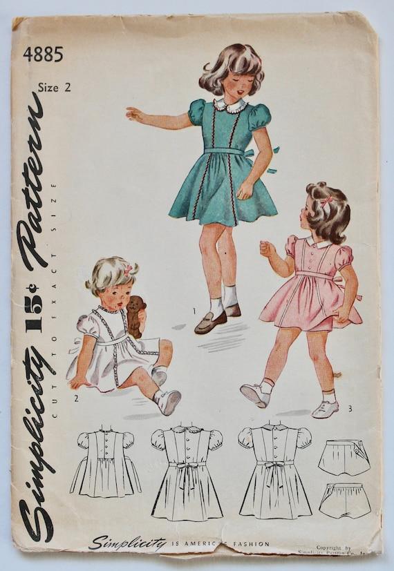 3a427f67d Girls Dress Pattern Vintage 1940s 1950s Girls Dress with