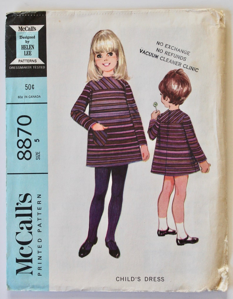65902c6fc Girls Sewing Pattern Vintage 1960s Girls Long Sleeved A Line