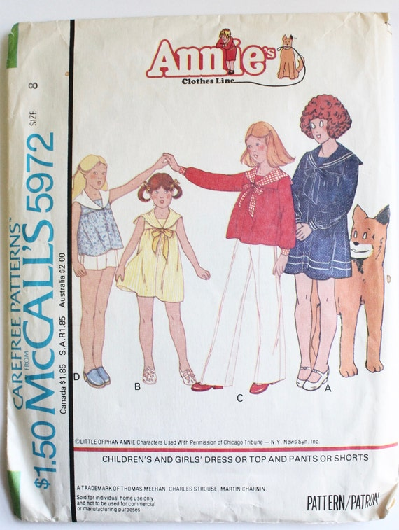 Sailor Dress Pattern Vintage 1970s Girl\'s Nautical Sailor | Etsy