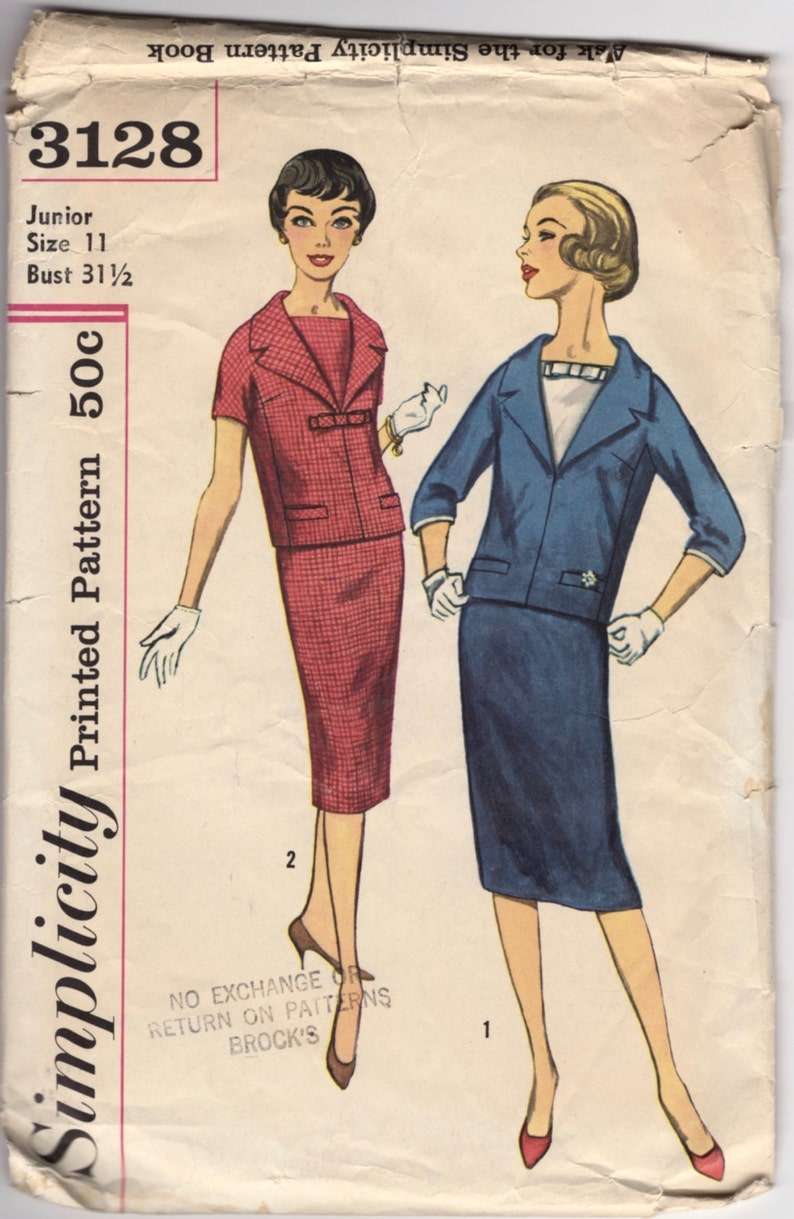Skirt And Size Vintage 3128 Tailor Couture 11 Women With Simplicity Jacket Pencil Bust 1950s Bow Pattern 5 31 0ONnP8wXk