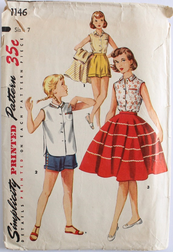 fe083bcdf Girls Sewing Pattern Vintage 1950s Girls Circle Skirt Shorts