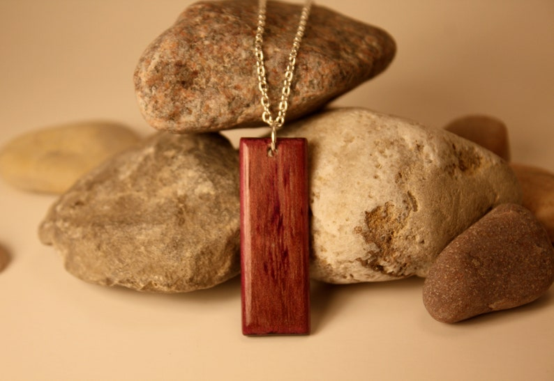 gift for her rectangle necklace exotic wood necklace Purpleheart necklace wood necklace Mother of Pearl inlay jewelry