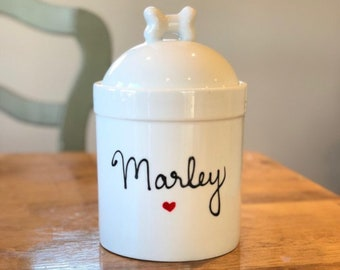 6eaf203c2eb1 Personalized Dog Treat Jar, Dog Treat Container, Small Pet Treat Jar with  Name