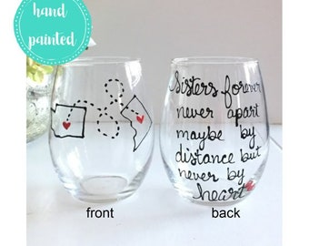 Sister Wine Glass Gift Birthday Big Little State