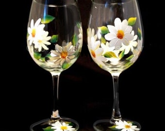 Daisy Flower Large Stemless Wine Glass Flower Lover Gift Colorful Spring Drinkware Wine Hostess Gift Floral Mother/'s Day Gift