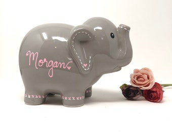 Personalized Elephant Piggy Bank, Hand Painted Piggy Bank for Girls, Baby Shower Gift 1st Birthday Gift for Baby Girl, Baby Girl
