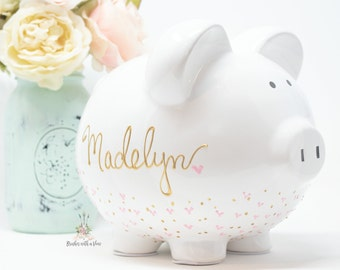 Hand Painted  Personalized Piggy Bank for Girls, Custom Hand Painted Piggy Bank, Piggy Bank for Girls, Baby Shower Gift, Large bank