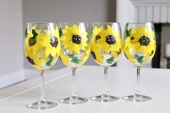 Sunflower Gift Idea Sunflower Wine Glasses Set Of 4 Hand Etsy