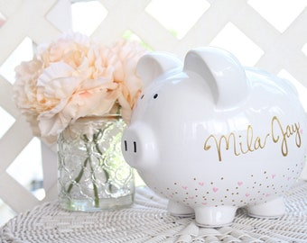 Large Painted Piggy Bank, Baby Girl Gift, Personalized Piggy Bank for Girls, Baby Girl Baby Shower Gift, 1st Birthday Gift Girls