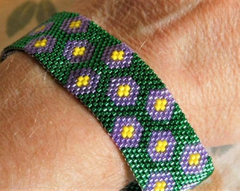 Original Design Handwoven Green with Violet Flowers Peyote Stitch Cuff Bracelet Gift for Mom