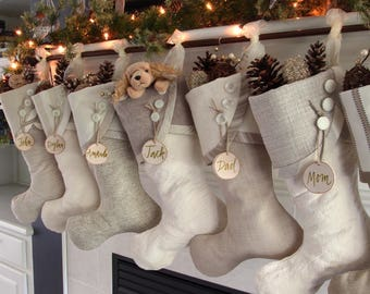 personalized christmas stocking tags wooden tree slice stocking tags with hand calligraphy in green and suede tie