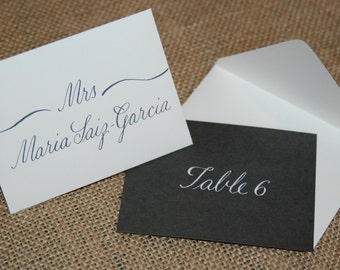 Escort Cards with Mini Envelopes - Hand Calligraphy - Table Numbers and Envelope Addressing Also Available