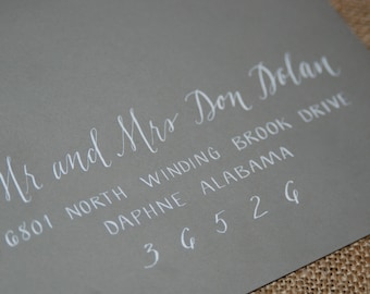 """Wedding Calligraphy Envelope Addressing - Place Cards / Buffet Cards / Escort Cards & Table Numbers Also Available - """"The Jenna Style"""""""