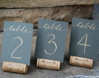 """Mini Wedding Table Numbers - Flat 2.5 x 3.5"""" Cards in Color of Choice with Hand Calligraphy  in Color of Choice"""
