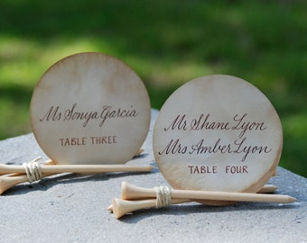 Hand Calligraphy on Tea Stained Circular Escort Cards - Wedding Name Place Card - Personalized - Golf Tee Holders Also Available @ 3.00 each