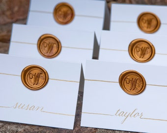 Wedding Name Place Cards  / Escort Cards and Table Numbers  Hand Calligraphy - Made to Order - Initial Monogram Wax Seal