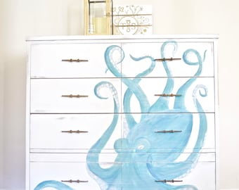 Ordinaire Custom Furniture Art With Octopus Design On Dresser   Custom Hand Painted  Dresser  Coastal Furniture