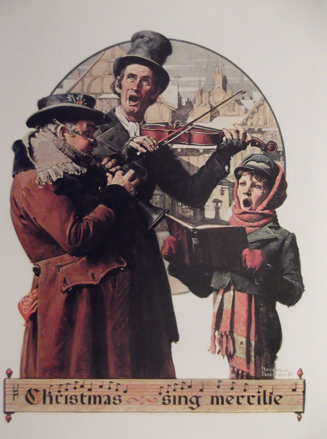 CHRISTMAS TRIO By Norman Rockwell Full Size Reproduction Print   Etsy