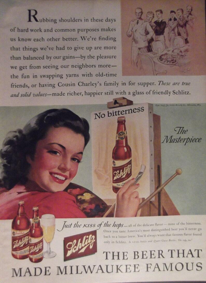 Schlitz Beer Ad Original 1940s Vintage Beer Advertisement Man Etsy