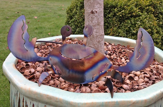 Smiling Crab Decoration For Your Home Or Garden. Metal Art