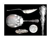 Antique Sterling Silver Louis XV Whiting Cracker Spoon with Monogram