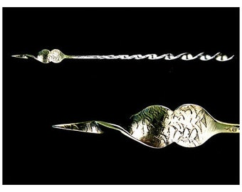 Antique Sterling Silver Twisted Handle Gorham Butter Pick with Engraving and Gold Wash