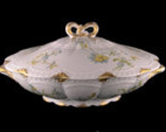 Antique Haviland Limoges Oval Covered Vegetable Dish with Bow Finial