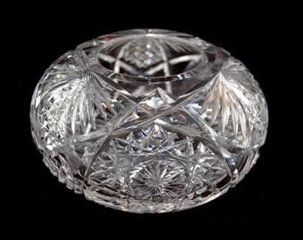 RARE Antique Cut Glass Violet Bowl