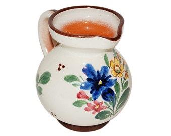 Vintage Hand Turned Floral Print Creamer Pitcher - HPK