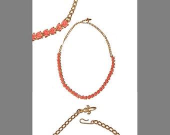 Vintage Faux Carved Coral Rose Necklace