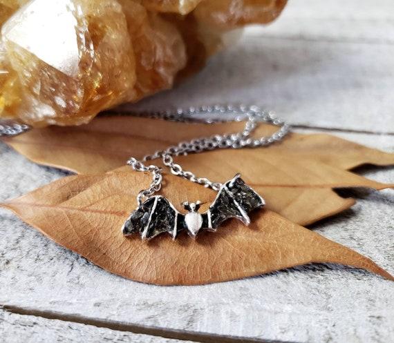Bat Black Obsidian Gemstone Animal Pendant Hand Carved Stone Necklace Totem