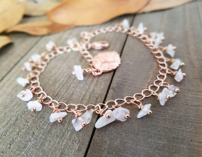 1bcbbace06f01 Boho anklet - Rose gold anklet - moonstone anklet - rainbow moonstone -  rose gold jewelry - rose gold ankle bracelet - rose gold moonstone