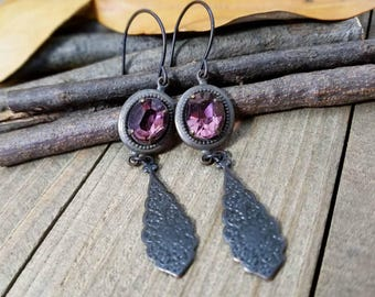 Gothic dangle earrings - gothic  earrings - goth crystal earrings - gothic jewelry - amethyst earrings - gothic Halloween jewelry