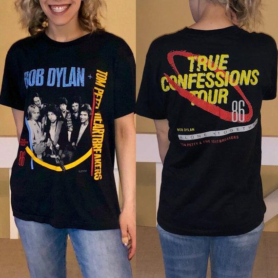 49766c912ffe2 Vintage 1986 Bob Dylan & Tom Petty Tour concert tee size   Etsy