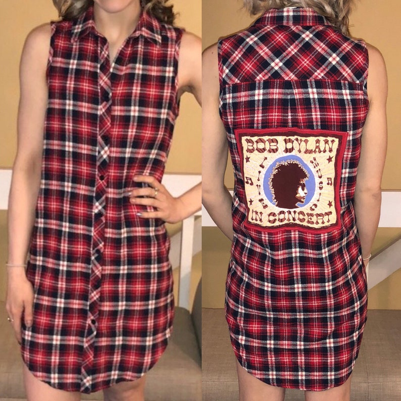 22acf3680406c Bob Dylan tee flannel dress ladies size small   Etsy