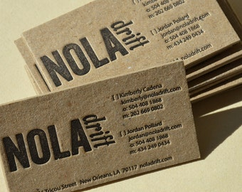 Kraft business card etsy letterpress business cards brown stained kraft 2 mm ultra thick cardboard 1 color front reheart Gallery