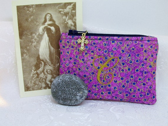 Monogram Girl/'s Ladies Floral Catholic Gift Rosary Pouch Small Purse Sacrament