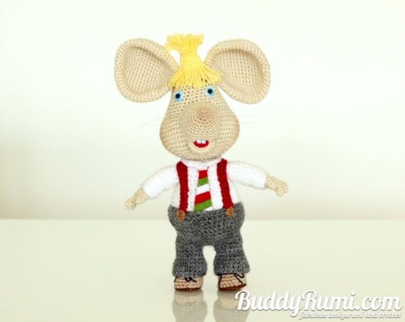 PATTERN: Amigurumi crochet mouse Topo Gigio Italian tie image 0