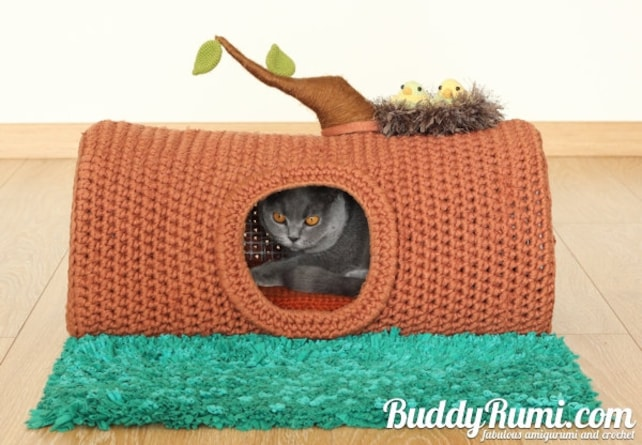 Pattern Pet Crochet Bed Cat Cave T Shirt Yarn A House In The Etsy