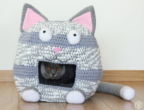 Pattern Crochet Cat Bed Cave Kitty Kat House T Shirt Yarn From