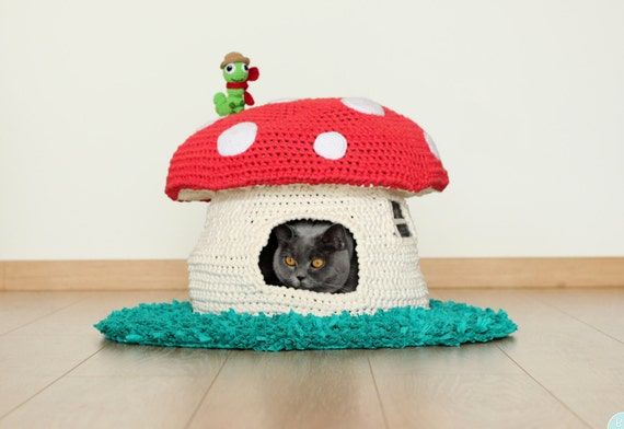 Pattern Into The Woodland House Pet Bed Crochet Cat Cave Etsy