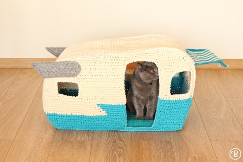 PATTERN: On the Road House pet crochet bed cat cave t-shirt image 0
