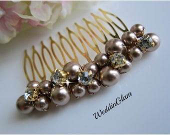 Holiday gifts Mother of bride gift Hair Accessories Champagne Brown comb Rhinstone cluster comb Bridal Hair Comb Gold hair Comb