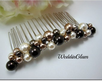 Ivory Pearl Hair comb, Wedding Pearl Hair Comb, Bridal Pearl Haircomb, Bridal Jewelry, Ivory Pearl Comb, Crystal Pearl Hair comb