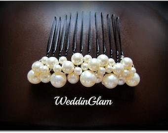 Ivory pearl comb, Wedding Comb, Bridal Hair Comb, Wedding Hair Accessories, Swarovski Pearls, Elegant Headpiece, French comb, formal updo