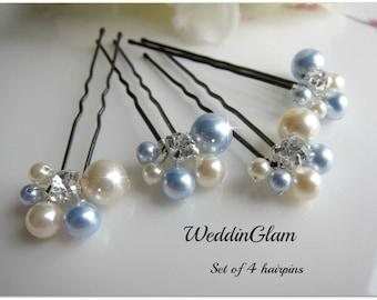 Bridal Hair Pins, Wedding Hair Accessories, Pear crystal rhinestones hairpins, Bridesmaid Hairdo, Something blue hair pins and clips